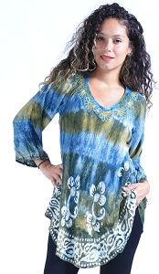 Tie Dye Flowing Tunic - Gold