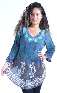Tie Dye Flowing Tunic - Turquoise