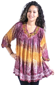 Paisley Tie Dye Tunic - Purple