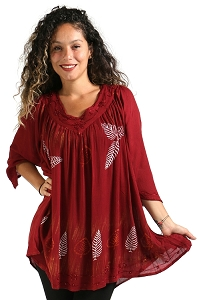 Leaves Tunic - Burgundy