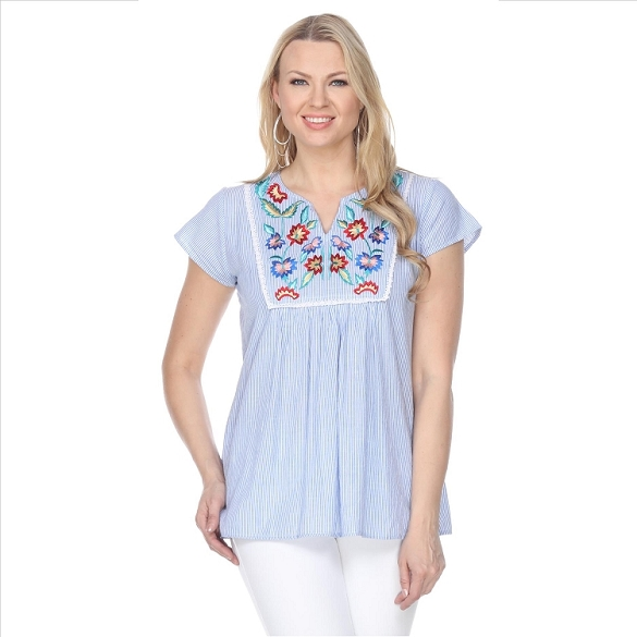 Embroidered Pinstripe Top - Blue