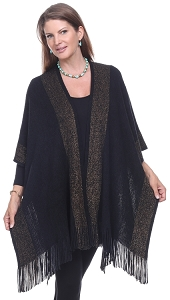 Cashmere Feel Sparkle Wrap - Black