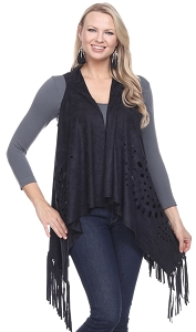 Fringe Edged Ultra Suede Vest - Black