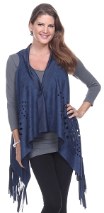 Fringe Edged Ultra Suede Vest - Blue