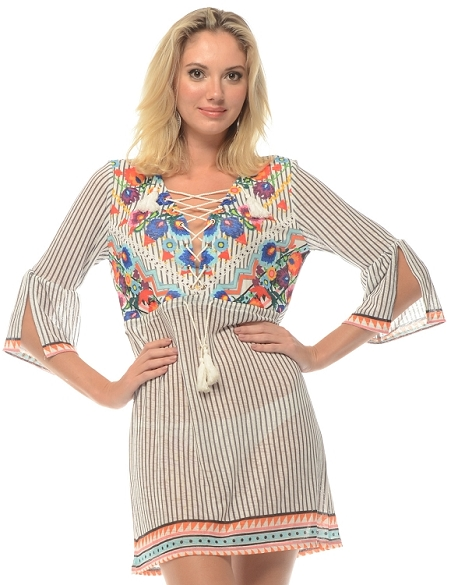 Crisp Pinstripe 3/4 Sleeve Cover-Up - Grey