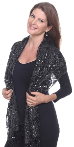 Glamourous Sequin Shawl - Black