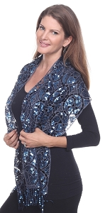 Glamourous Sequin Shawl - Blue