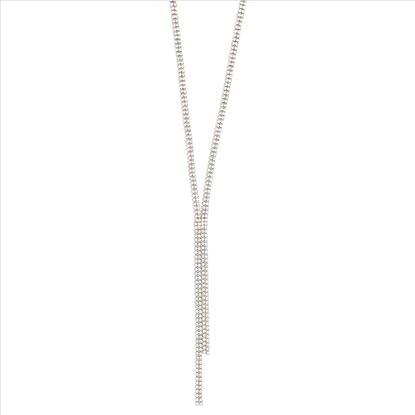 Layered Rhinestone Necklace - Silver
