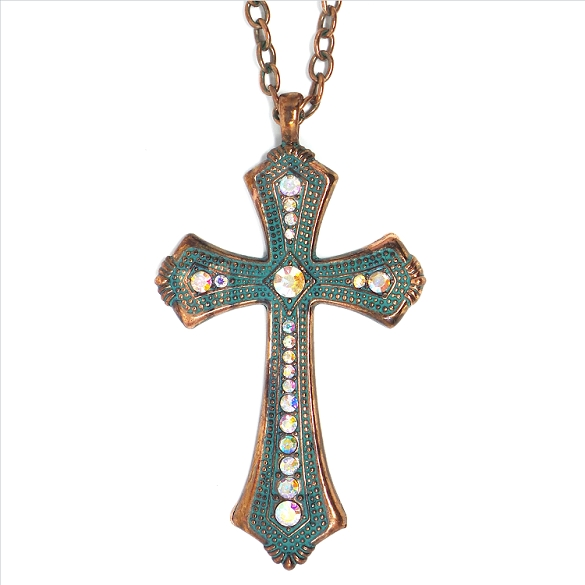 Crystal Cross Necklace - Oxidized