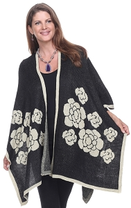 Floral Wrap with Sparkles - Black
