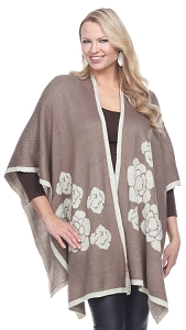 Floral Wrap with Sparkles - Taupe