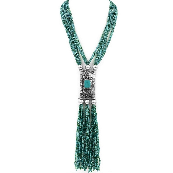 Layered Bolo Style Necklace - Turquoise