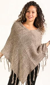 Tweed Poncho - Taupe