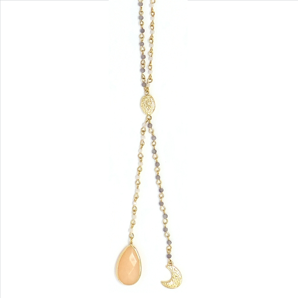 Crescent and Peach Stone Necklace