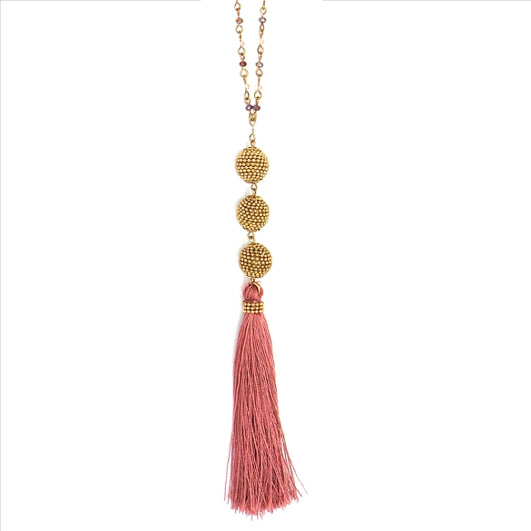 Ball and Tassel Necklace - Rose