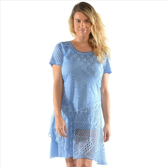 Sheer Accent Panel Dress - Blue