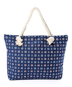 Rope Tote - Small Anchors on Navy