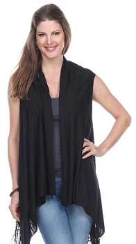 Jersey Vest with Tassels - Black