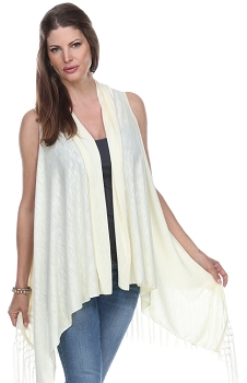 Jersey Vest with Tassels - Ivory