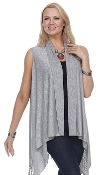 Jersey Vest with Tassels - Light Grey