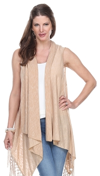 Jersey Vest with Tassels - Taupe