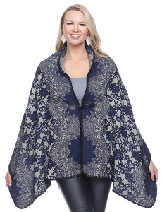 Toggle Clasp Cape - Navy