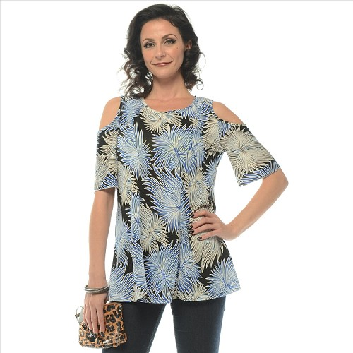 Floral Print Cold Shoulder Top - Black SAMPLE