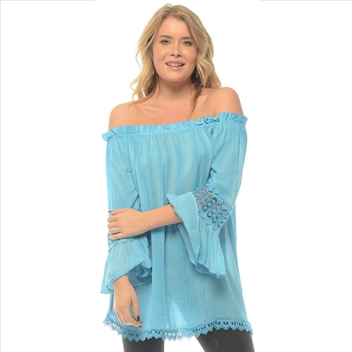 Lace Accent Bell Sleeve Tunic - Turquoise