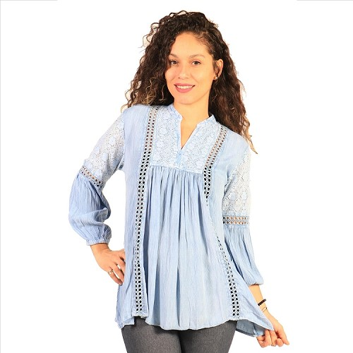 Beguiling Pierced Tunic - Denim