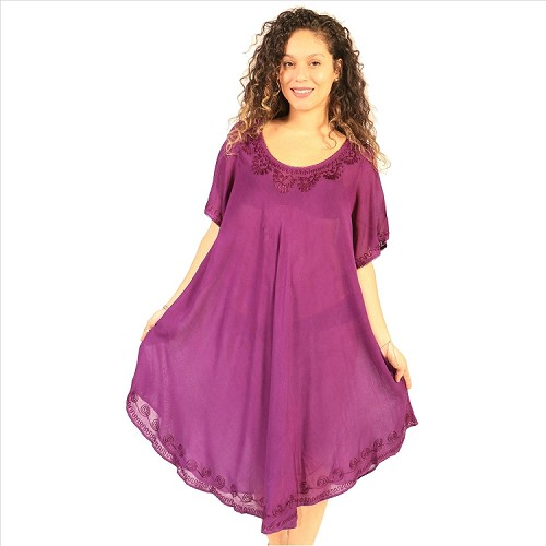 Embroidered Umbrella Dress - Purple