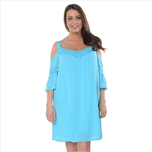 Solid Cold Shoulder Dress - Turquoise