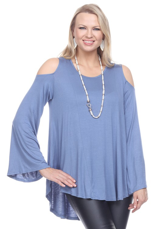 Alluring Cold Shoulder Top - Blue