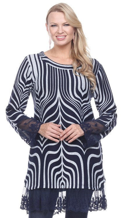 Lace Trimmed Tunic - Navy