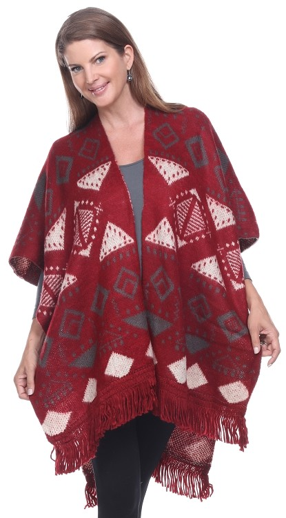 Diamonds and Fringe Wrap - Burgundy