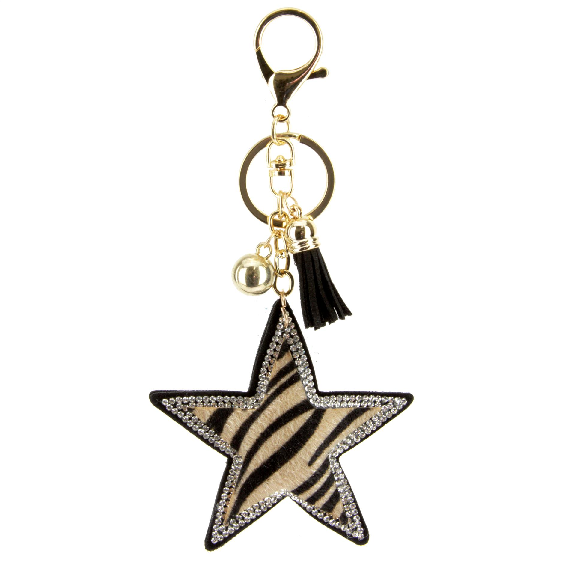 PUFFY AMERICAN FLAG TASSEL /& BLING KEY CHAIN
