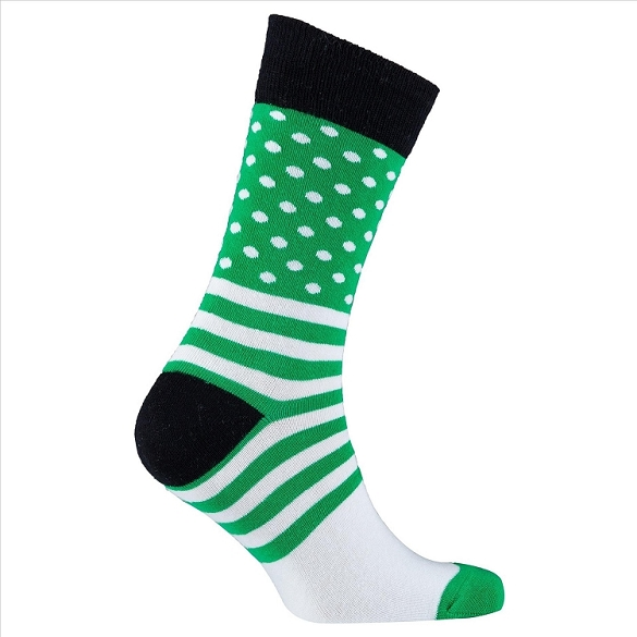 Men's Dot Stripe Crew Socks #1087