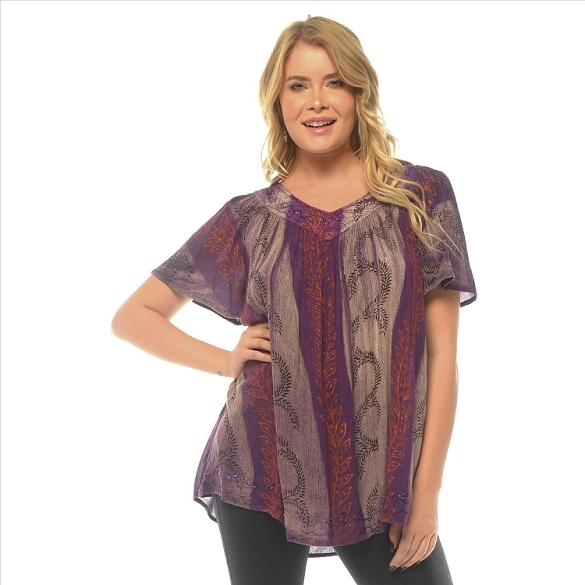 Tie Dye V-Neck Tunic - Purple