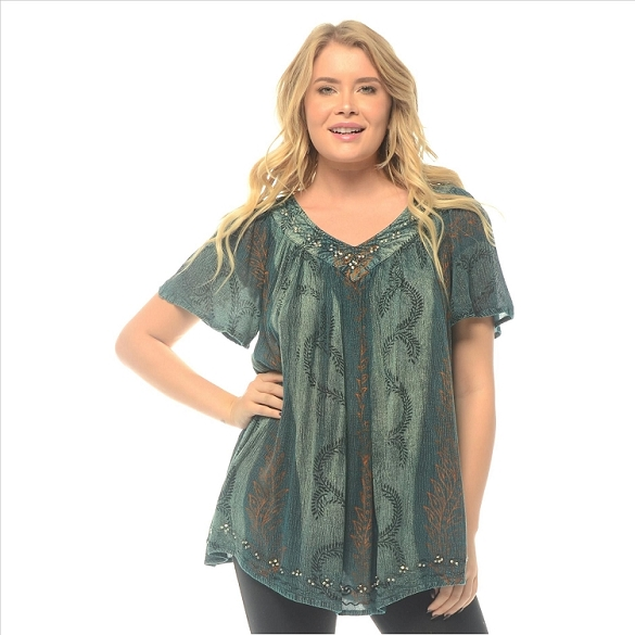 Tie Dye V-Neck Tunic - Blue