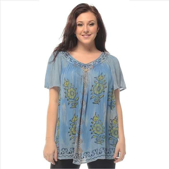 Cape Sleeve Tie Dye V-Neck - Blue