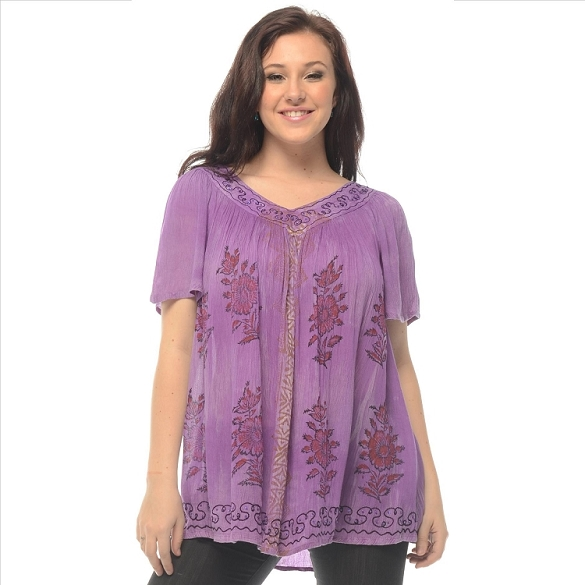 Cape Sleeve Tie Dye V-Neck - Purple