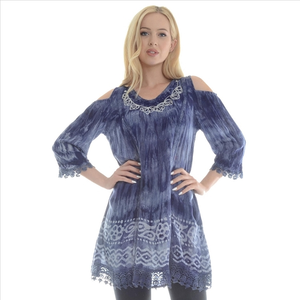 Embroidered Tie Dye Tunic - Blue