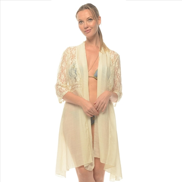 Linen and Lace Cover-Up - Ivory