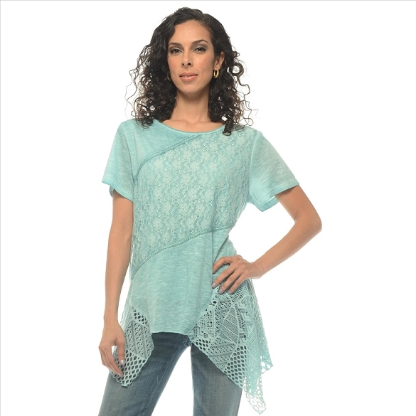 Crochet and Solid Panel Tunic - Mint