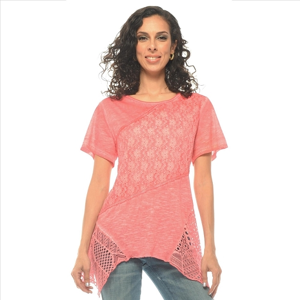 Crochet and Solid Panel Tunic - Coral