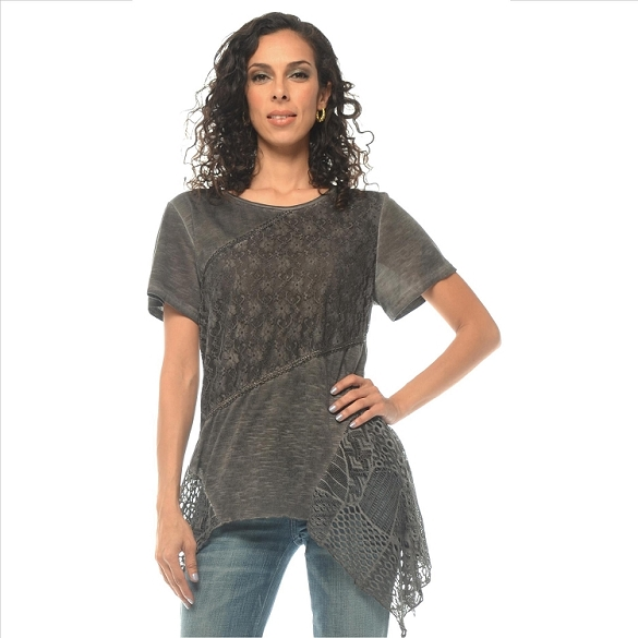 Crochet and Solid Panel Tunic - Black