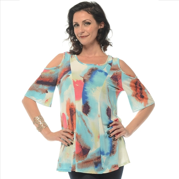 Cold Shoulder Tunic - Turquoise SAMPLE