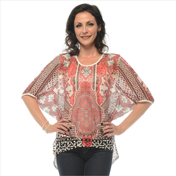Dynamic Print Cape Sleeve Top - Red SAMPLE
