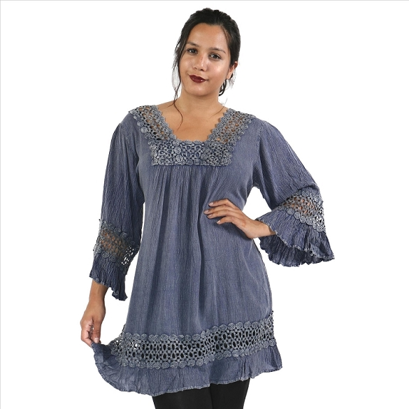 Lace and Bell Sleeves Tunic - Denim SAMPLE