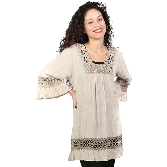 Lace and Bell Sleeves Tunic - Faun SAMPLE