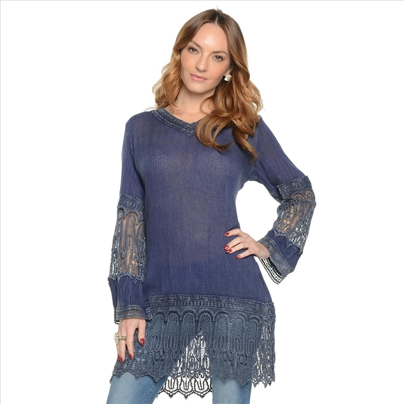 Linen and Lace V Neck - Denim